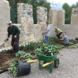 Volunteers in the walled garden. Photo by The Botanic Garden at Historic Barns Park